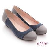 【effie】濃情藝文 全羊皮色塊拼接楔型鞋(藍)