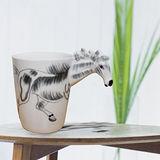 3D動物造型手繪風陶瓷杯- 蒙古馬(350ml)