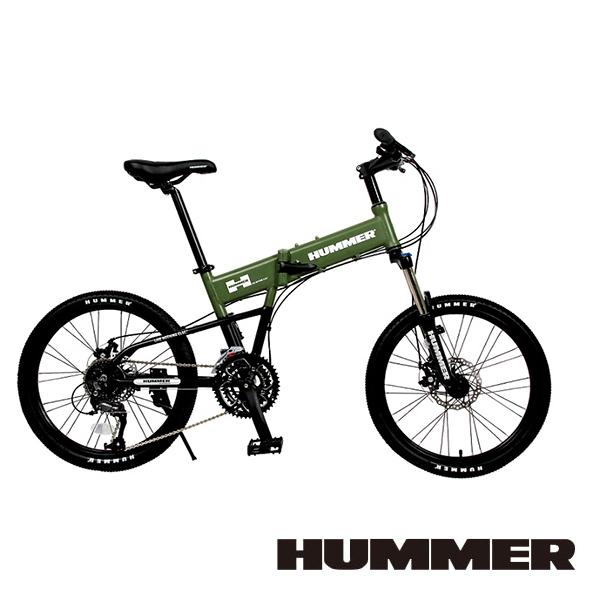 【HUMMER】20吋451 27速 機械碟煞 鋁架摺疊車(綠) HM2700D-G