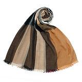 BURBERRY 英倫格紋絲綢混紗流蘇薄圍巾-駝色