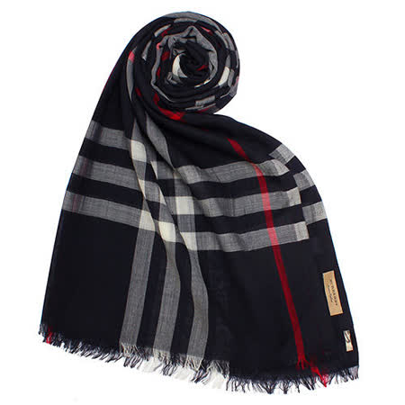 BURBERRY 新款英倫格紋羊毛混絲流蘇圍巾-深藍色