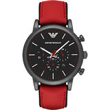 Emporio Armani Classic 都會計時石英腕錶-黑x紅/46mm AR1971