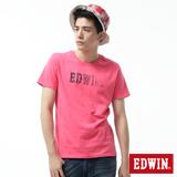 EDWIN 手繪LOGO印花短袖T恤-男-桃紅