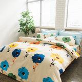 美夢元素 台灣製天鵝絨 塗鴉花趣 雙人加大四件式床包被套組