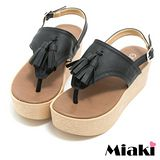 【Miaki】MIT 涼鞋韓式流蘇厚底夾腳拖鞋 (黑色)