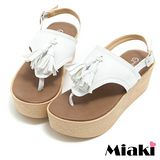 【Miaki】MIT 涼鞋韓式流蘇厚底夾腳拖鞋 (白色)