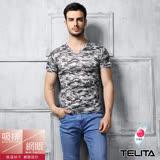 【TELITA】男內衣~吸溼涼爽迷彩網眼短袖V領衫/T恤--灰色