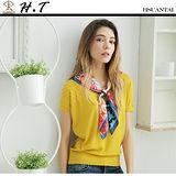 玄太-簡約幾何織紋連身袖針織上衣(黃)