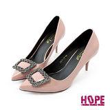 【HOPE】《韓國直送》璀璨鑲鑽方環漆皮尖頭高跟鞋–裸(K160DF3007)