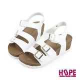 【HOPE】《韓國直送》超輕量復古雙釦楔型魔鬼氈休閒涼鞋–白(K162AF3010)