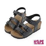 【HOPE】《韓國直送》超輕量復古雙釦楔型魔鬼氈休閒涼鞋–黑(K162AF3010)