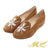 MK-全真皮-水鑽羊麂皮低跟樂福鞋-棕色