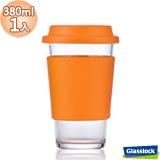 Glasslock馬卡龍強化玻璃環保隨手杯380ml一入(甜橙橘)