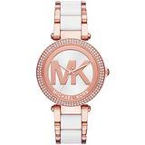Michael Kors 光燦耀眼晶鑽都會腕錶-金粉X雙色鋼帶