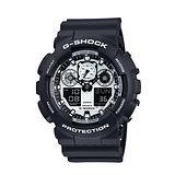 CASIO G-SHOCK黑白機械個性雙顯運動錶-GA-100BW-1A/防水/禮物/防撞