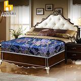 ASSARI-藍色厚緹花布護背式冬夏兩用彈簧床墊(單大3.5尺)