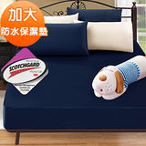 J-bedtime【時尚靛】3M吸濕排汗X防水透氣網眼布加大床包式保潔墊