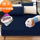 J-bedtime【時尚靛】3M吸濕排汗X防水透氣網眼布特大床包式保潔墊