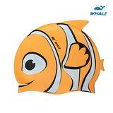 WHALE 小丑魚防水矽膠兒童泳帽