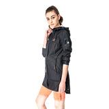 【hilltop山頂鳥】女款DERMIZAX 3L防水防風透氣長大衣H21F16-黑