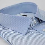 【金安德森】藍黑條紋變化領窄版短袖襯衫
