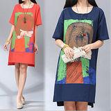 【韓國K.W.】簡約抽象印花休閒寬鬆洋裝