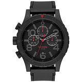 NIXON 48-20 CHRONO 潮流重擊運動皮帶錶-黑x紅針x菱格紋