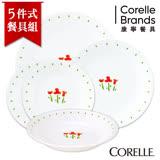 【美國康寧 CORELLE】小紅花5件式餐盤組 5RTN02