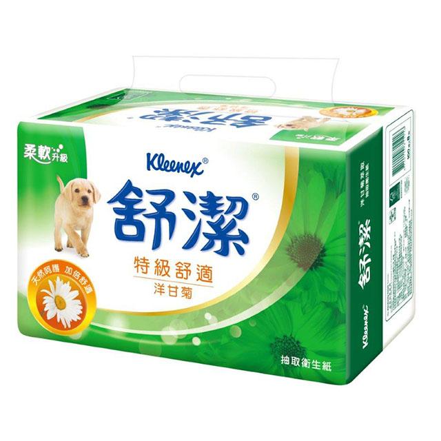 【舒潔】特級舒適抽取衛生紙100抽(8包x8串/箱)-洋甘菊萃取
