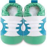 英國 shooshoos 安全無毒真皮手工鞋/學步鞋/嬰兒鞋 白底/藍綠運動型 102065 (公司貨)