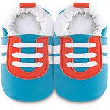 英國 shooshoos 安全無毒真皮手工鞋/學步鞋/嬰兒鞋 藍底/紅白運動型 102064 (公司貨)