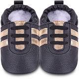 英國 shooshoos 安全無毒真皮手工鞋/學步鞋/嬰兒鞋 黑色金鞋帶運動型 102066 (公司貨)