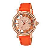 CASIO SHEEN 羅馬鏤空時尚三針女用腕錶-玫瑰金X橘-34/SHE-4047PGL-4A