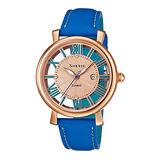 CASIO SHEEN 羅馬鏤空時尚三針女用腕錶-玫瑰金X藍-34/SHE-4047PGL-2A