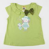 【愛的世界】MYBABY 蝶舞系列荷葉圓領半袖純棉上衣-果綠/4~8歲-台灣製-
