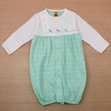 【愛的世界】MYBABY 小狗三兄弟系列圓領橫紋純棉兩用嬰衣/3~6個月-台灣製-
