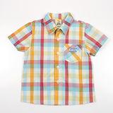 【愛的世界】MYBABY 電影嘉年華系列純棉格紋短袖襯衫/10~12歲-台灣製-