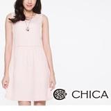 CHICA A-line前抓縐洋裝-粉膚