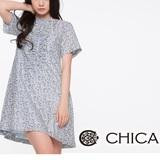 CHICA 胸前抓褶碎花洋裝-白底淺藍花