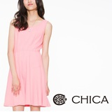 CHICA 圓形壓花布素面無袖洋裝(共2色)-腮紅粉