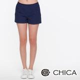 CHICA 縫線小格短褲-暗藍