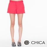 CHICA 腰側小銀釦短褲(共3色)-紅色