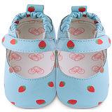 英國 shooshoos 安全無毒真皮手工鞋/學步鞋/嬰兒鞋 藍色草莓之吻 101029 (公司貨)
