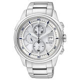 CITIZEN Eco-Drive 時尚美學光動能計時腕錶(銀/42mm) CA0370-54A
