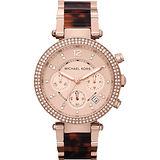 Michael Kors 美式奢華晶鑽三眼計時腕錶-玫瑰金/38mm MK5538