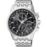 CITIZEN Eco-Drive 萬年曆五局電波三眼計時腕錶-黑/43mm/AT8110-61E