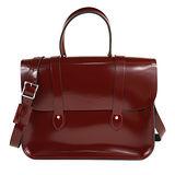 【The Leather Satchel Co.】英國原裝手工牛皮音樂包 肩背 側背手提包 精湛工藝 金屬桿設計方便開啟(浪漫紅)