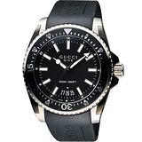 GUCCI Dive 時尚旗艦款200米潛水腕錶-黑/45mm YA136204