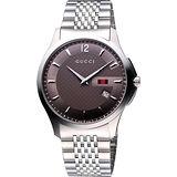 GUCCI G-Timeless 格紋薄型時尚腕錶-咖啡/40mm YA126310
