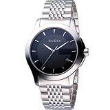 GUCCI Classic G 經典古馳菱格紋時尚腕錶-黑/39mm YA126402